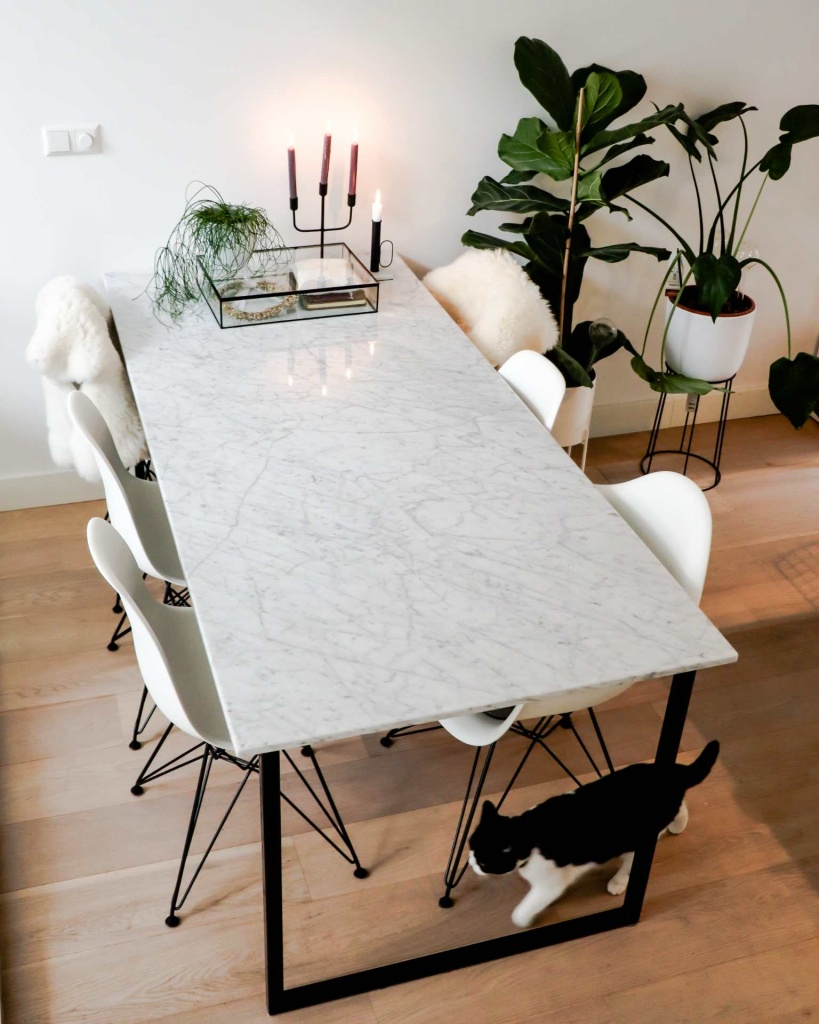 Rectangular Marble Dining Table Bianco Carrara White U Frame Aime Té
