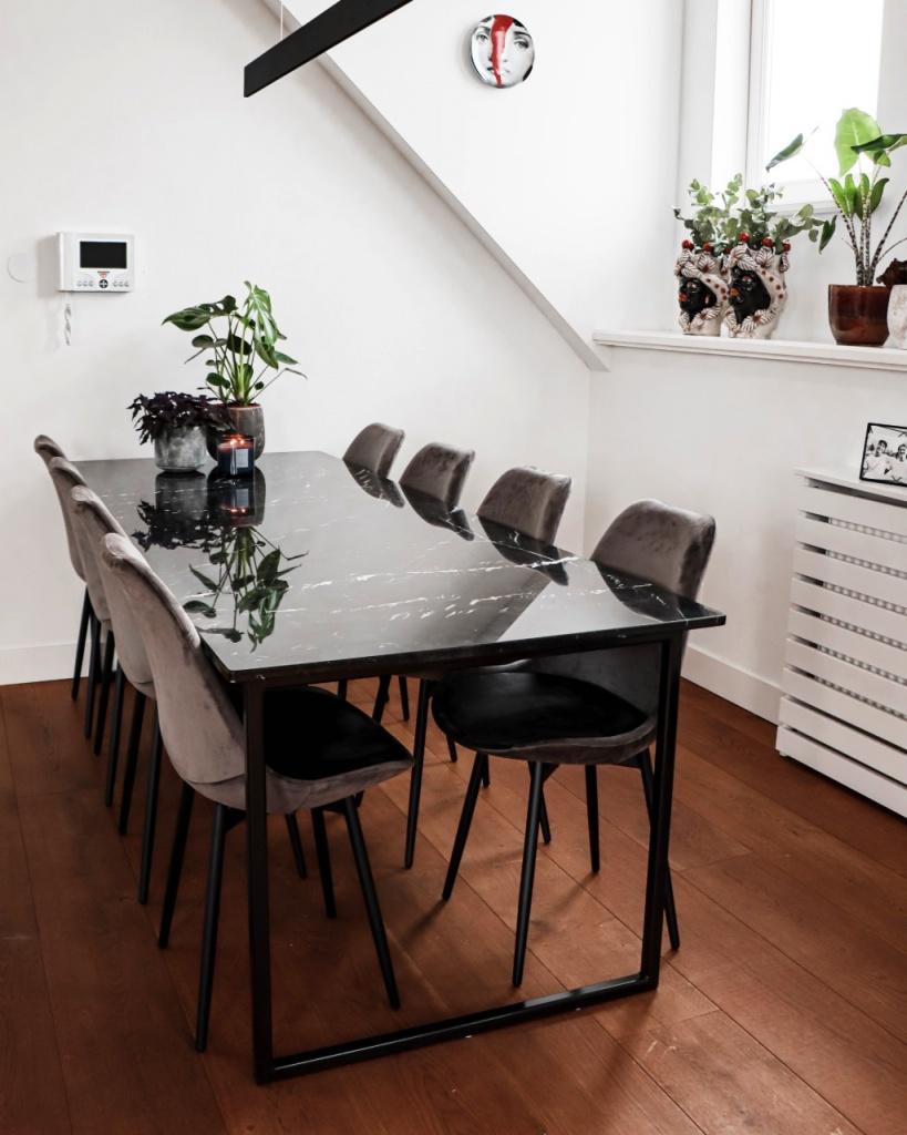 Rectangular Marble Dining Table Nero Marquina Black U Frame Aime Té