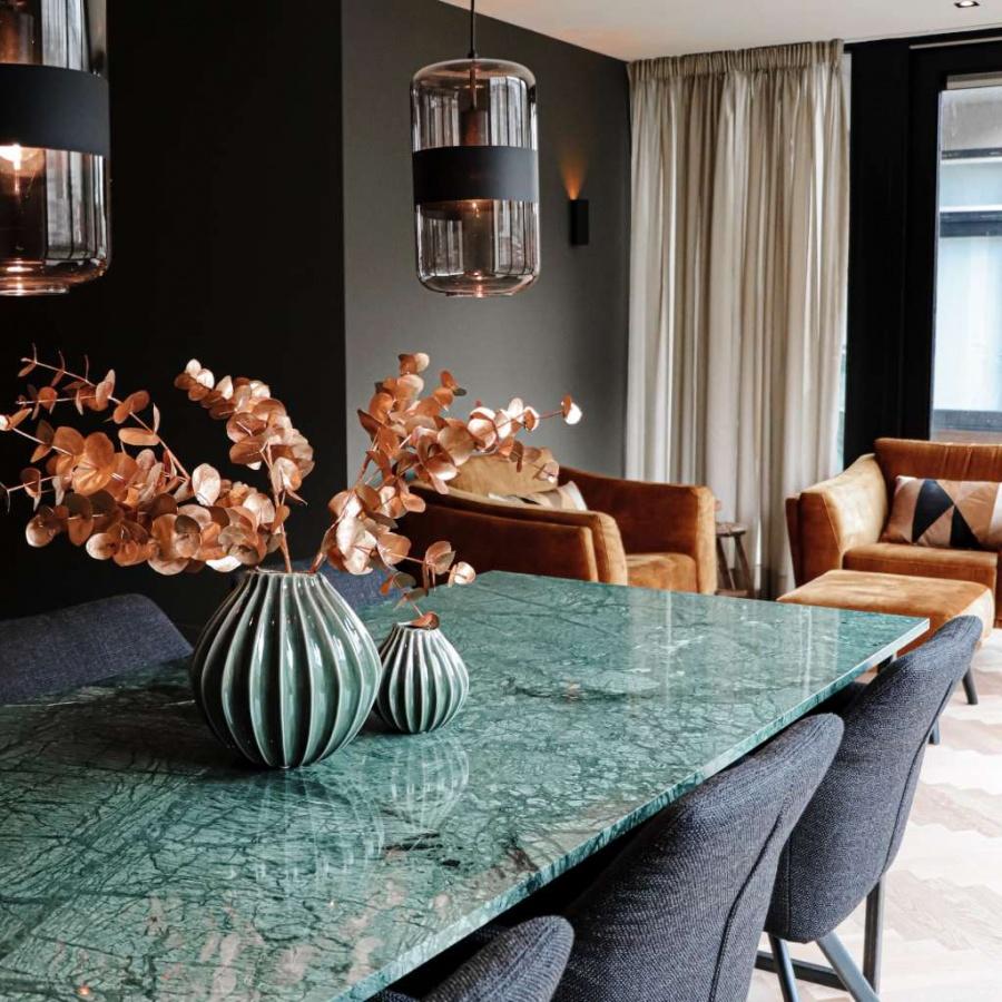 Rectangular Marble Dining Table India Green U Frame Aime Té