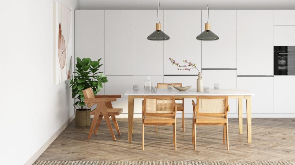 Rectangular Marble Dining Table Bianco Carrara White Wooden Frame Aime Té