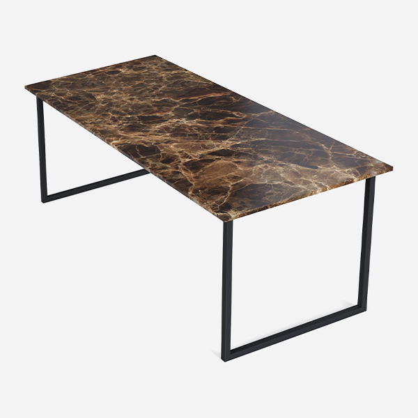 Rectangular Marble Dining Table Dark Emperador Brown U Frame Aime Té