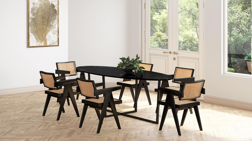 Oval Marble Dining Table Nero Marquina Black Cross Frame Aime Té