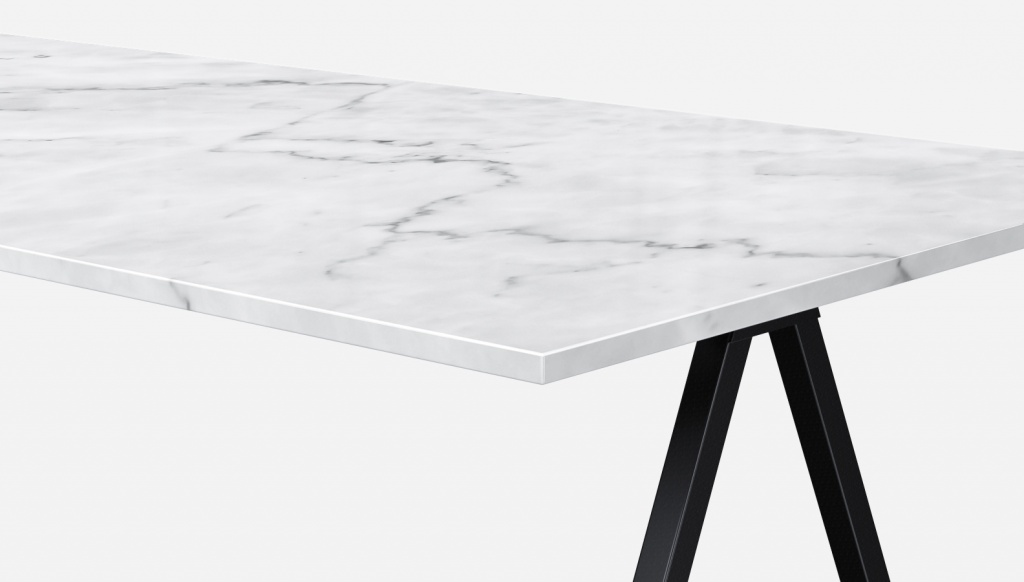 Rectangular Marble Dining Table Bianco Carrara White V Frame Aime Té