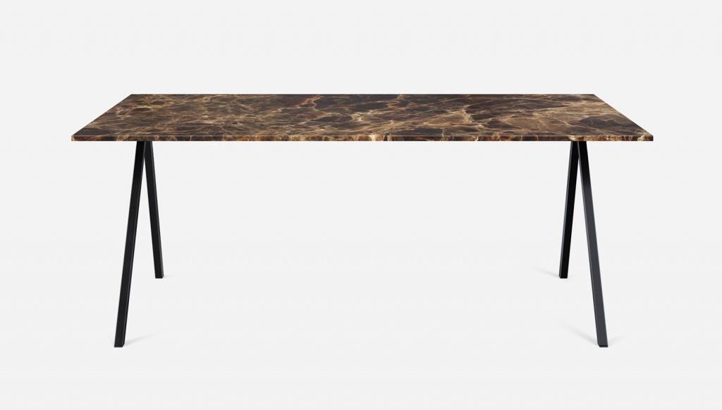 Rectangular Marble Dining Table Dark Emperador Brown V Frame Aime Té