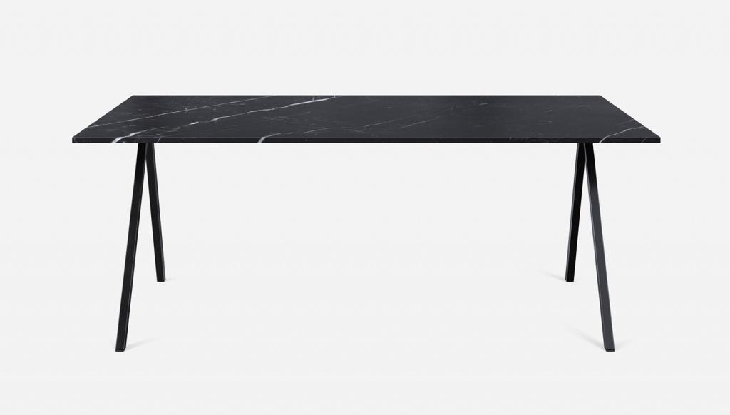 Rectangular Marble Dining Table Nero Marquina Black V Frame Aime Té