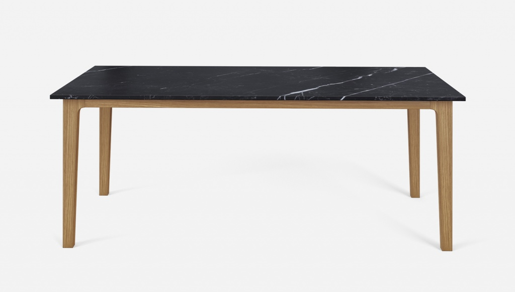 Rectangular Marble Dining Table Nero Marquina Black Wooden Frame Aime Té