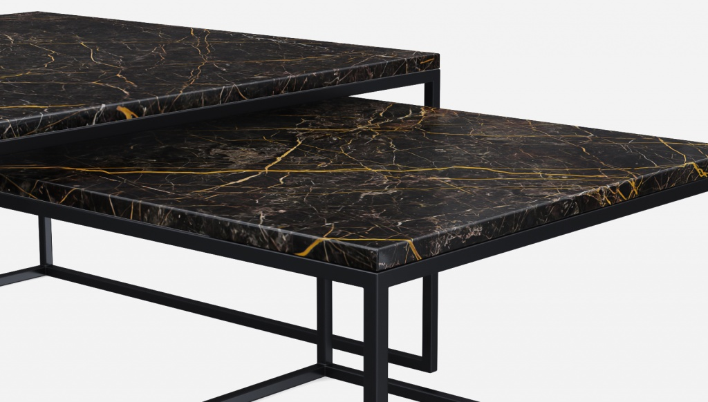 Marble Coffee Table Set Square Black And Gold Aime Te