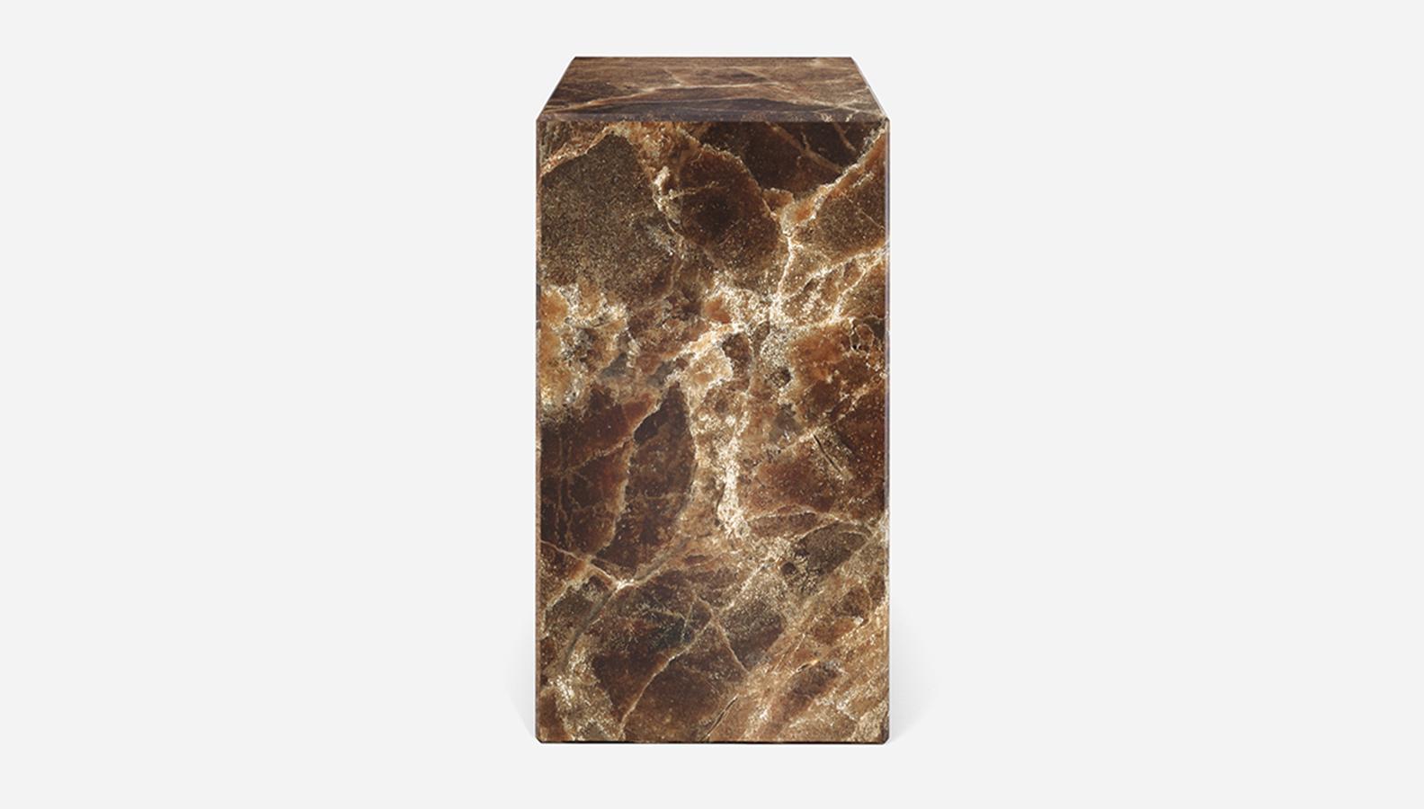 Aime Té Marmerblok Pilaar - Dark Emperador Bruin - 30  x 30  x 51