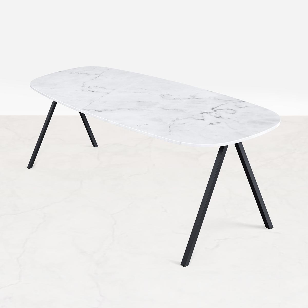 Marmeren Eettafel Celio Wit (V poot) 180 x 90 cm