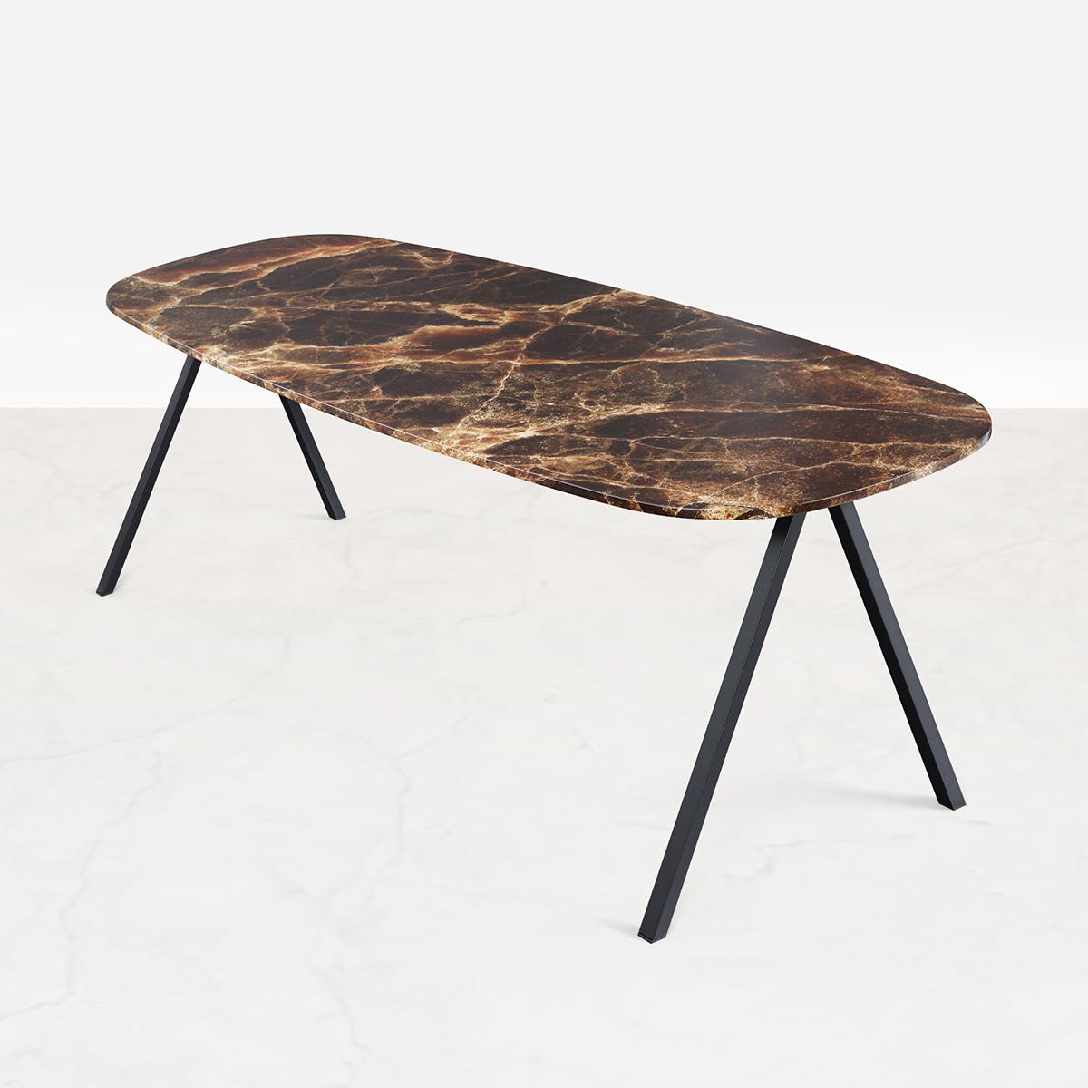 Marmeren Eettafel Celio Bruin (V poot) 200 x 90 cm