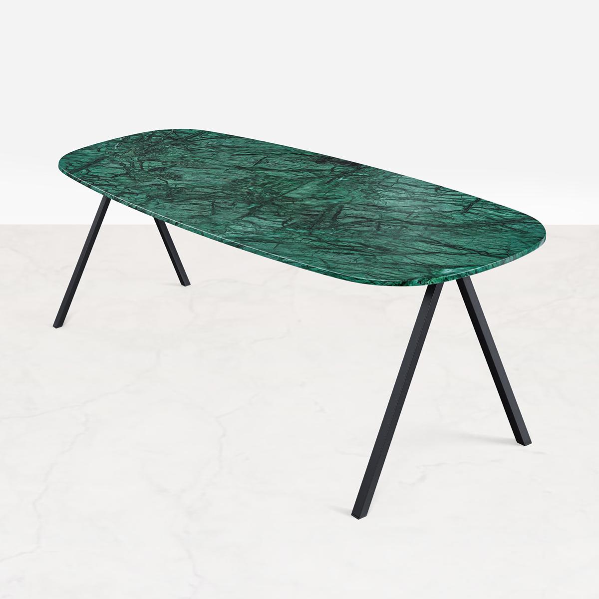 Marmeren Eettafel Celio Groen (V poot) 240 x 90 cm