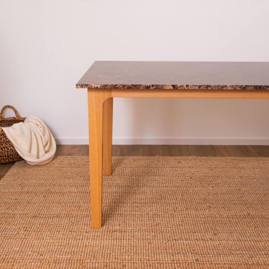 Rectangular Marble Dining Table Dark Emperador Brown Wooden Frame Aime Té