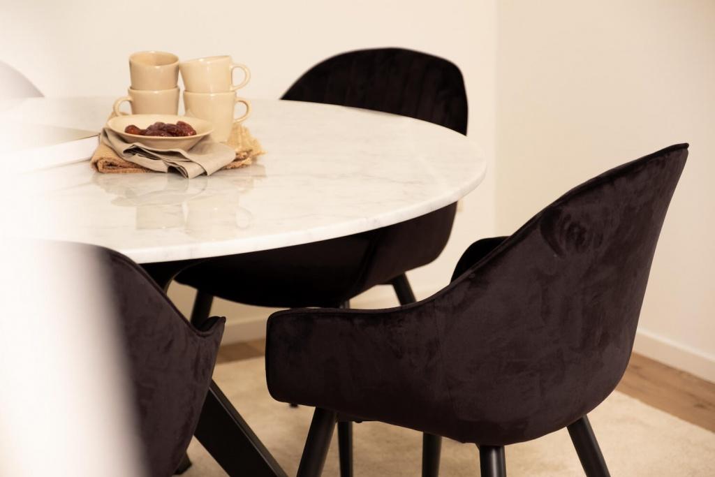 Round Marble Dining Table Bianco Carrara White Arch Frame Aime Té