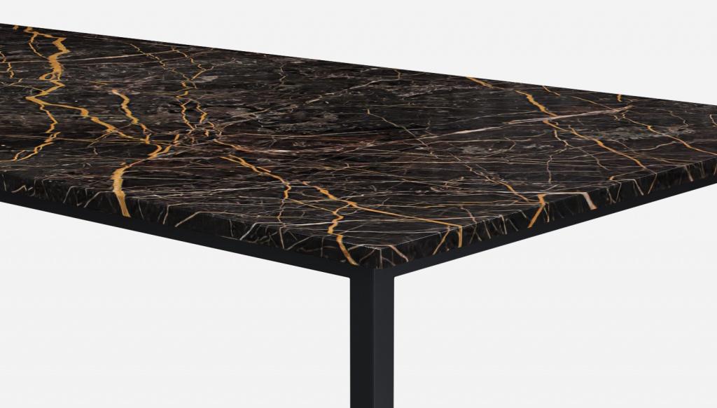 Rectangular Marble Dining Table Port Laurent Black Gold 4 Legged Aime Té