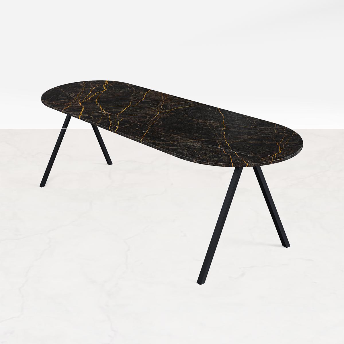 Marmeren Eettafel Half Ovaal Zwart Goud 160 x 80
