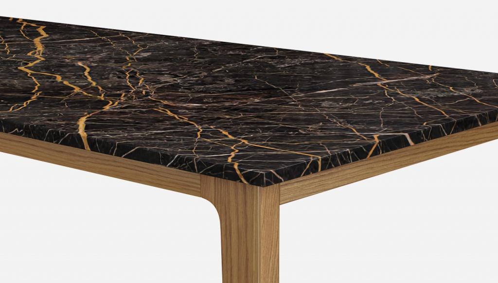 Rectangular Marble Dining Table Port Laurent Black Gold Wooden Frame Aime Té