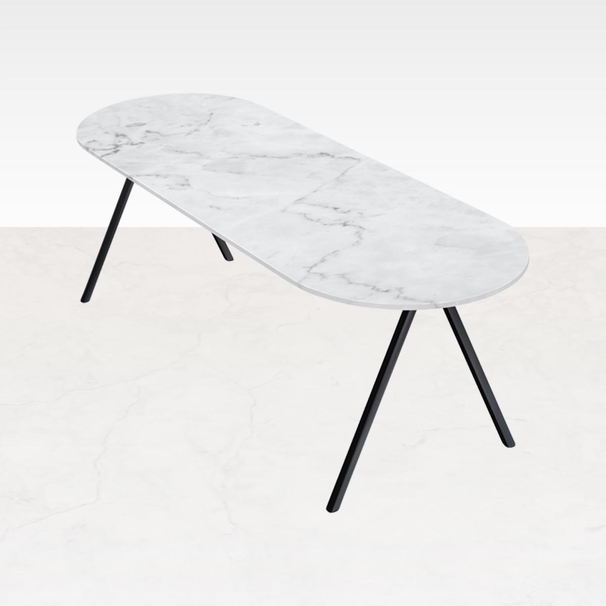 Marmeren Eettafel Half Ovaal Wit 220 x 80