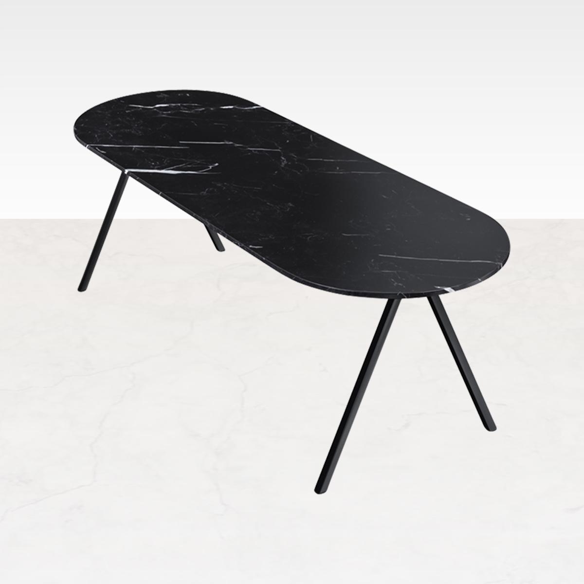 Marmeren Eettafel Half Ovaal Zwart 180 x 80