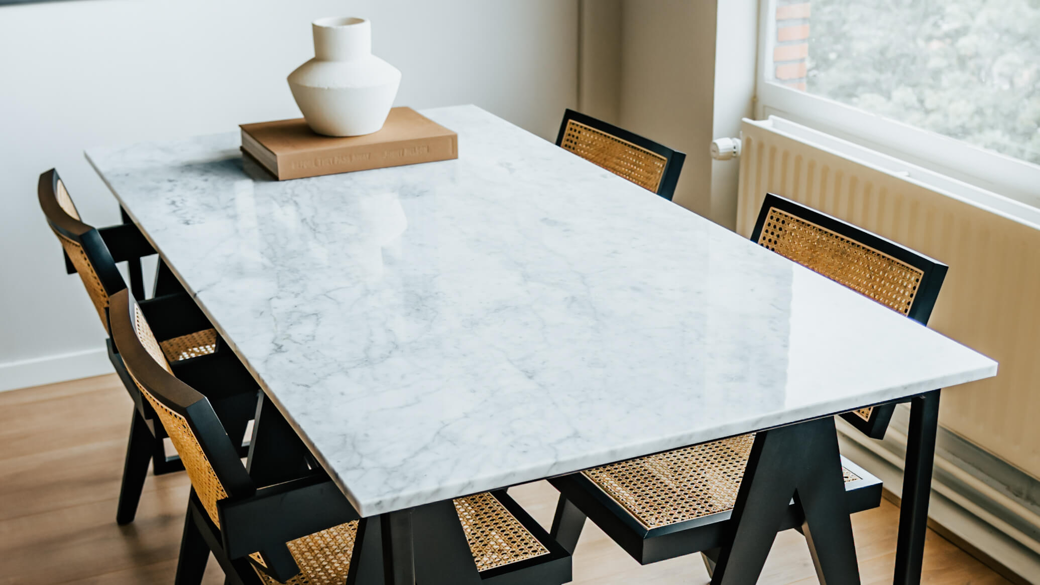 Rectangular Marble Dining Table – Bianco Carrara White U frame   Aime Té